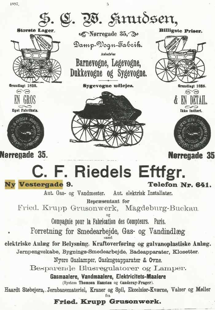 Annonce i Krak 1897 for Howitz C.F. Riedels Eftf. Ny Vestergade.
