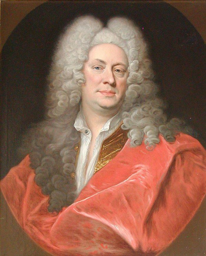 Portræt af hofmaler Henrik Krock (1671-1738) malet 1719 af Johann Salomon Wahl (1689-1765). Frederiksborg Det Nationalhistoriske Museum, Frederiksborg Slot.